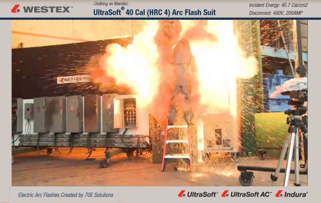 arc flash test on westex kudos fabric