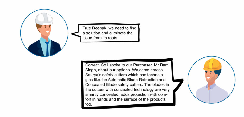Rahul: True Deepak, we need to find a solution and eliminate the issue from its roots. Deepak: Correct. So I spoke to our Purchaser, Mr Ram Singh, about our options. We came across Saurya's safety cutters which has technologies like the Automatic Blade Retraction and Concealed Blade safety cutters. The blades in the cutters with concealed technology are very smartly concealed, adds protection with comfort in hands and the surface of the products too.