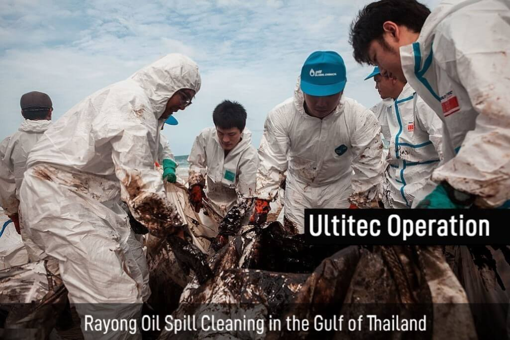 Rayong oil spill cleaning in gulf of Thailand