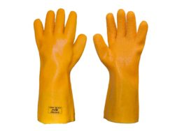 Chemical resistant universal roughened yellow gloves