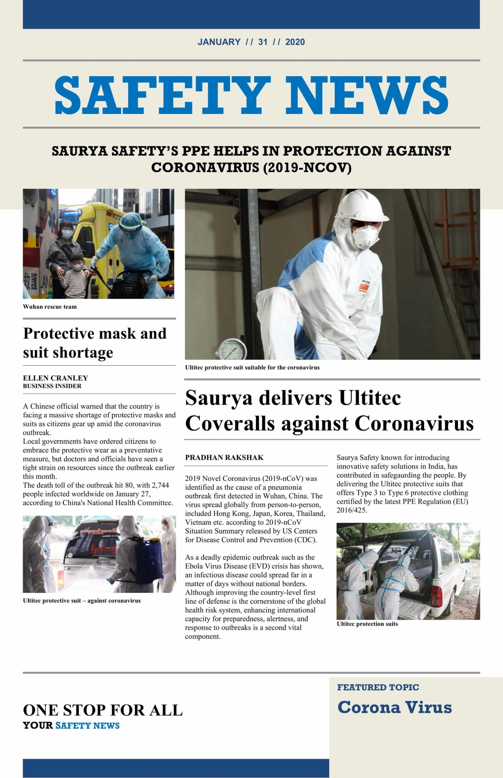 Saurya Safety's PPE Helps in Protection Against Corona Virus Image