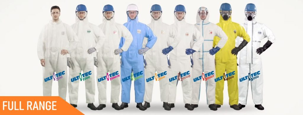 ultitec chemical protective coveralls full range